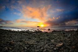 Sunset at Malmok Aruba at low tide