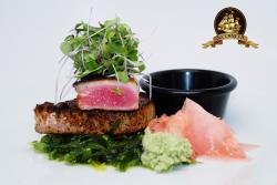Bronzed seared Ahi with wakame and pickled ginger and sweet thai soy